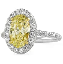 2.03 carat Oval Yellow Diamond Halo Engagement Ring front view
