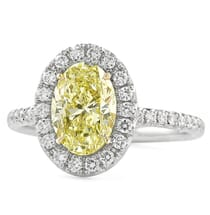 1.50 carat Oval Yellow Diamond Engagement Ring white gold pave band front view