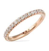 rose gold diamond eternity band with fishtail pave