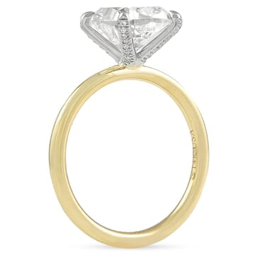 2.8 carat Cushion Cut Diamond Pave Prong Ring