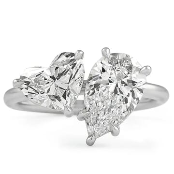 pear and heart diamond duo ring