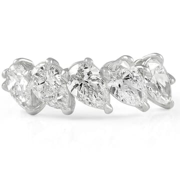 5 Stone Pear Shape Diamond Band: GIA Graded