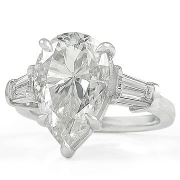 Pear Shape Moissanite Three-Stone Engagement Ring
