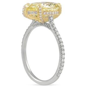 3 carat pear shape yellow diamond engagement ring