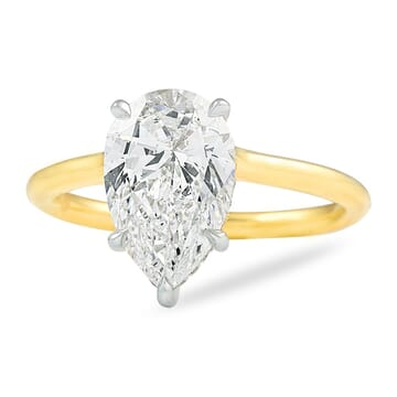 2.04 ct Pear Shape Diamond Yellow Gold Solitaire Ring