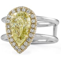 2.15 carat Pear Shape Yellow Diamond Halo Engagement Ring double white gold band front view