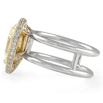 2.15 carat Pear Shape Yellow Diamond Halo Engagement Ring
