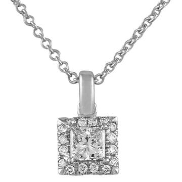 Petite Princess Diamond Halo Pendant product shot