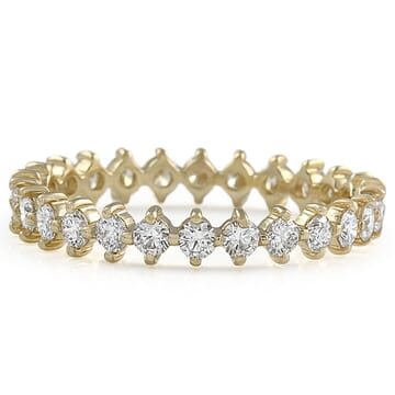 Petite Round Diamond Compass Eternity Band front view yellow gold