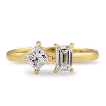 Princess and Emerald Petite Diamond Duo Ring
