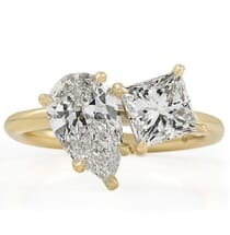 Pear and Princess Cut Diamond Duo Engagement Ring