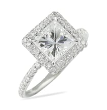 Princess Cut Moissanite Double Edge Halo Ring