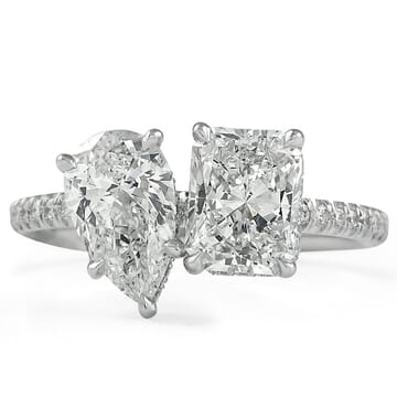 1.21 ct Radiant & 1 ct Pear Shape Diamonds Diamond Duo Ring front view