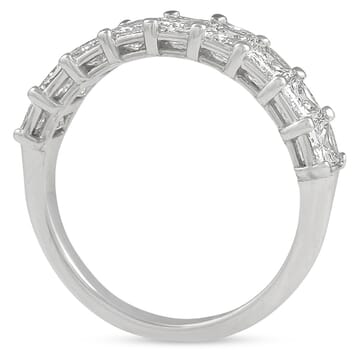 radiant cut diamond halfway wedding band ring