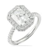 Radiant Cut Moissanite Platinum Halo Ring