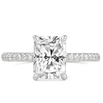 Radiant Cut Moissanite Classic Pave Ring