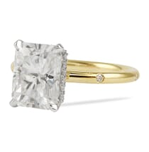 yellow gold radiant cut moissanite ring