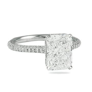 radiant cut diamond three row band engagement ring