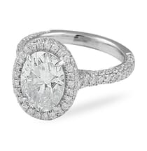Oval Moissanite Halo with Three-Row Band Ring flat