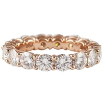round moissanite rose gold eternity band