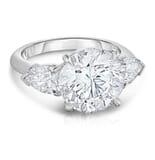 4.52 Carat Round Diamond Three-Stone Engagement Ring