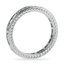 ROUND AND BAGUETTE CUT DIAMOND SINGLE ROW WEDDING BAND