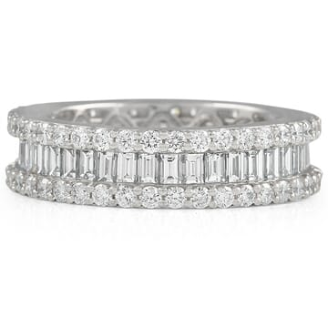 round and baguette cut diamond eternity band