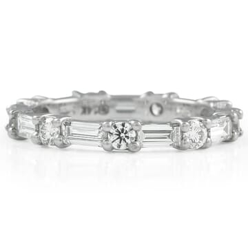 round and baguette diamond alternating band