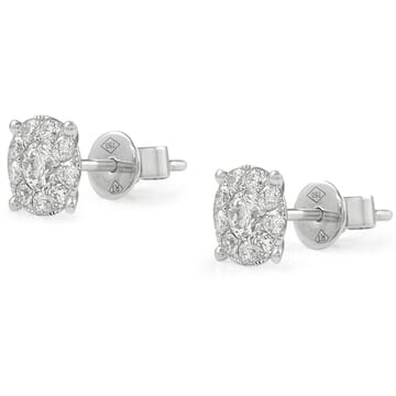 Round Diamond Cluster Halo Earrings front view