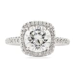 Round Moissanite In Cushion Halo Engagement Ring