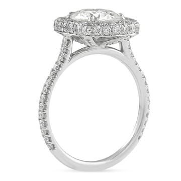 Round Moissanite in Cushion Halo Engagement Ring white gold pave diamond band