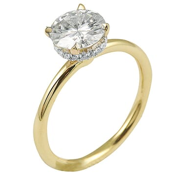ROUND MOISSANITE YELLOW GOLD SOLITAIRE ENGAGEMENT RING