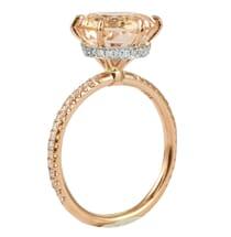 ROUND MORGANITE PINK GOLD ENGAGEMENT RING