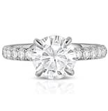 Round Moissanite Thicker Pave Band Engagement Ring