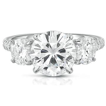 Round Moissanite Three-Stone Engagement Ring