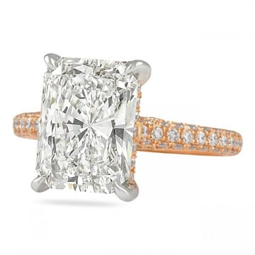 4 carat radiant cut diamond rose gold ring