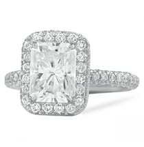 Radiant Cut Moissanite Double Edge Halo Three-Row Band Ring