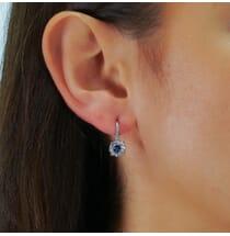 ROUND SAPPHIRE IN DIAMOND HALO EARRINGS