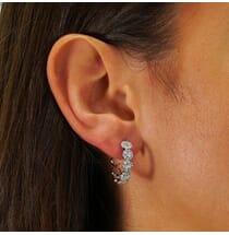Mini-Halo Round Diamond Hoop-Style Earrings
