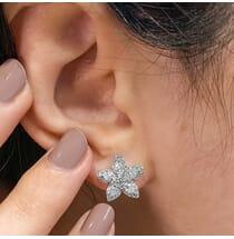 Pear Shape Diamond Star Earrings front