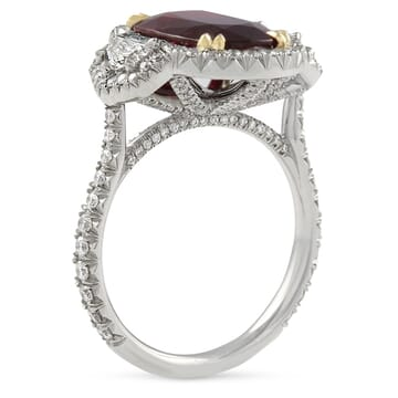 ruby and diamond three-stone halo ring