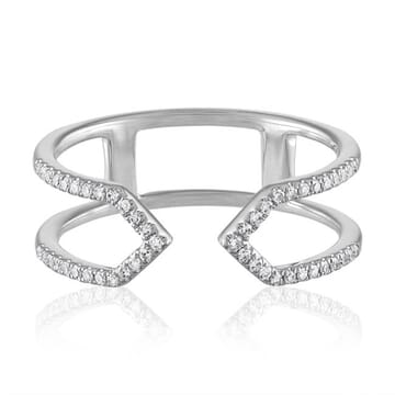 Geometric diamond Cuff Ring white gold