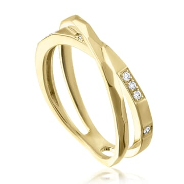 Gold and Diamond Cross Over Ring