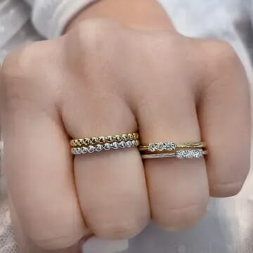 Beaded Gold Ring white side view