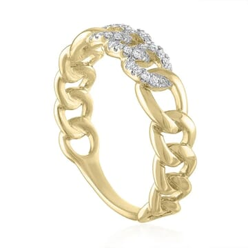 Triple Pave Chain Link Ring front view yellow gold pave diamonds