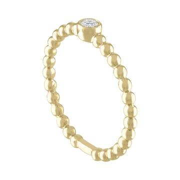 Beaded Bezel Set Ring white gold front view
