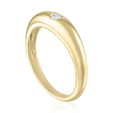 Diamond Dome Ring side view yellow gold