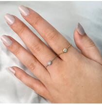 Bezel Diamond Chain Ring white gold