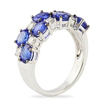 wide sapphire and diamond wedding band ring