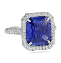 BLUE SAPPHIRE MIXED CUT HALO ENGAGEMENT RING